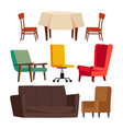 cartoon furniture set sofa chair table vector image