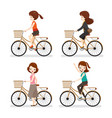 set of woman riding bicycle with different actions vector image
