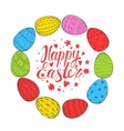 Template card with Easter eggs vector image