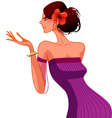 woman with Hibiscus flower vector image