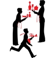 Silhouette Waiter with the tray vector image vector image