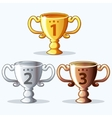 Colorful rewards goblet - gold silver and bronze vector image