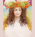 beautiful girl with wreath vector image