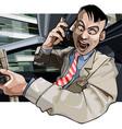 cartoon man driving aggressively yells vector image