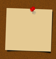 Yellow note paper with pin vector image
