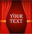Red curtains with sample text vector image vector image