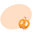 funny soft and crispy german pretzel character vector image