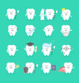 cute cartoon tooth character set with face eyes vector image