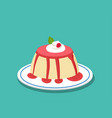 strawberry pudding on white plate vector image