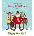 hipster Santa and company vector image vector image