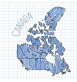 Blue pen hand drawn Canada map on paper vector image