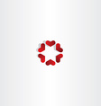 red hearts in circle sign icon love vector image