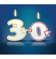 Birthday candle number 30 vector image