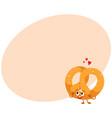 funny soft and crispy german pretzel character vector image