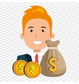 person with dollar and pound sterling isolated vector image
