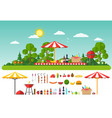picnic on nature set of elements for outdoor vector image