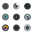 camera lens aperture icons set flat style vector image vector image
