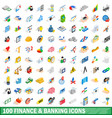 100 finance and banking icons set isometric style vector image