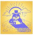 retro happy groundhog day vector image