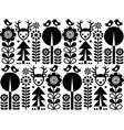 scandinavian folk art pattern with flowers vector image