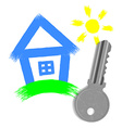 painted house and key from the lock isolated on vector image