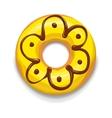 Yellow glazed donut icon cartoon style vector image