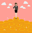 Business woman standing on money vector image