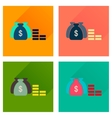 Concept of flat icons with long shadow money bag vector image
