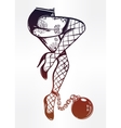 Female legs in stockings with ball and chain vector image