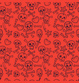 pattern with skulls hearts seamless background vector image