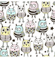 seamless pattern with cute doodle owls vector image