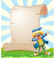 An empty paper at the back of a male clown vector image vector image