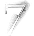 Sketch font Number 7 vector image vector image