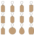 Collection of brown price tag on white background vector image