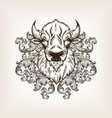 bison head with floral ornament engraving vector image