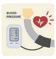 Digital electronic blood pressure monitor and hand vector image