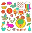 Fashion badge elements in cartoon 80s-90s comic vector image