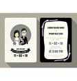 groom and bride wedding invitation card template vector image