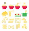 pasta noodles spaghetti - italian food icons set vector image