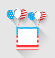 Photo frame and balloons in US national colors vector image
