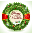 Wreath Christmas with Snowed Landscape vector image