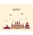 Surat skyline linear style vector image
