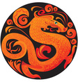 dragon in circle vector image vector image
