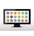 colorful arrows set on computer screen arrow icon vector image