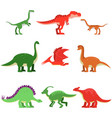 cute cartoon dinosaur animals set prehistoric and vector image