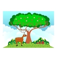 deer under the tree in sunny weather vector image