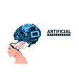 male head with modern cyborg brain isolated on vector image