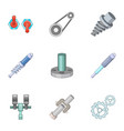 mechanical and electrical parts icons set vector image