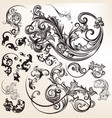 vintage styled hand drawn flourishes vector image