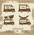 food trucks set - vintage poster with food truck vector image vector image